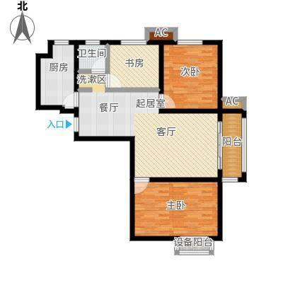 盛世桃城3室2厅1卫 108.16平米户型3室2厅1卫