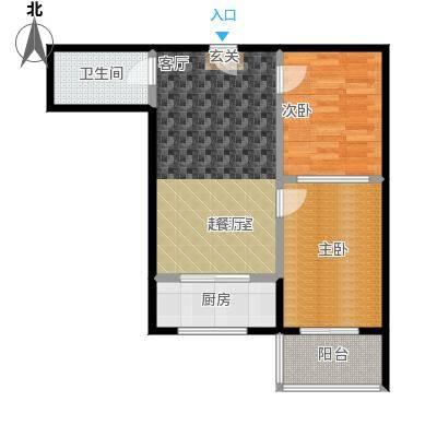 红日景园2室2厅1卫 79.79平米户型2室2厅1卫