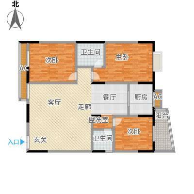 华庭锦绣苑S户型3室2卫1厨
