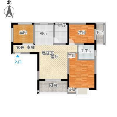 名门外滩92.77㎡两室两厅单卫三阳台户型