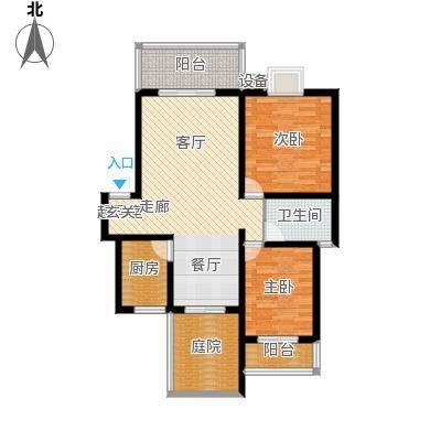 名门外滩87.64㎡G两室两厅单卫三阳台户型