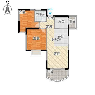 碧桂园十里银滩86.18㎡2号楼C1型2房2厅1卫86.18-86.25㎡户型2室2厅1卫