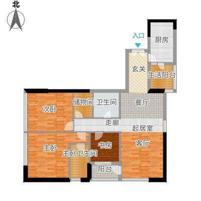 华贸中心户型3室1卫1厨