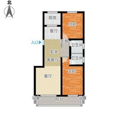 孔雀城108.50㎡C户型2室2厅2卫