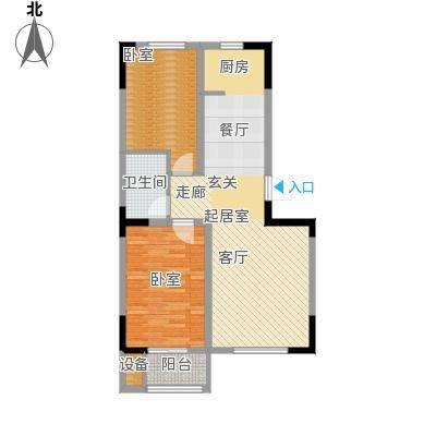 碧水庄园3#4#B户型2室2厅1卫