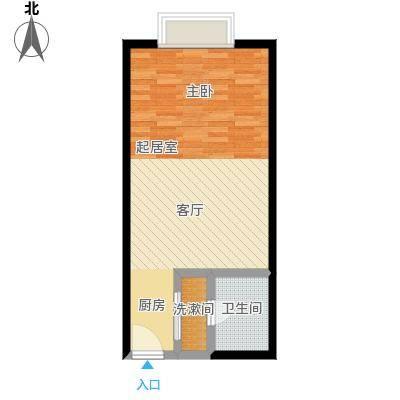 明发商业广场44.50㎡Mall力HOUSE C户型43.33-44.5户型1室1厅1卫