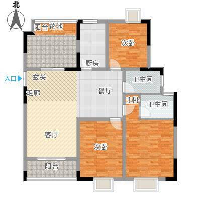 皇廷御苑4号楼H户型3室1厅2卫1厨
