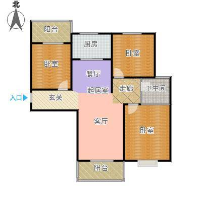南阳南都秋实苑三室两厅一卫户型3室2厅1卫