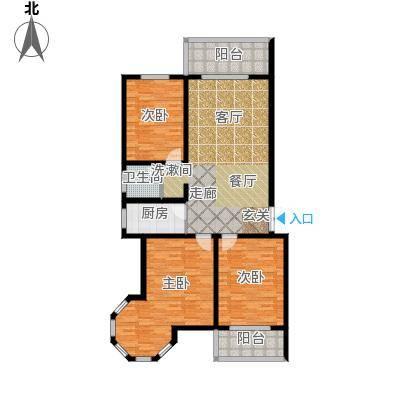 南阳桂花城御景123.60㎡3室2厅1卫1厨户型3室2厅1卫
