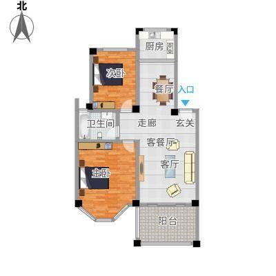 航宇香格里拉90.01㎡19#户型2室2厅1卫