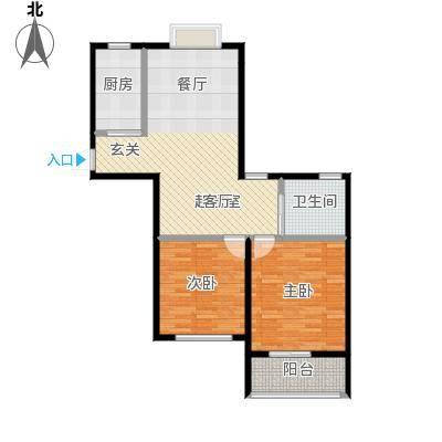 金域兰庭90.00㎡F2户型2室2厅1卫
