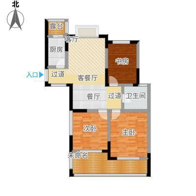 金域兰庭90.00㎡F2偶数层户型3室2厅1卫