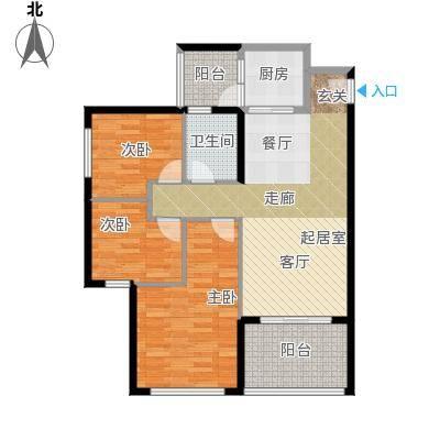 金色港湾104.00㎡3#101号房 三房两厅一卫户型3室2厅1卫
