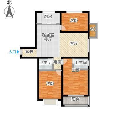 天缘盛世113.84㎡三室二厅二卫户型3室2厅2卫