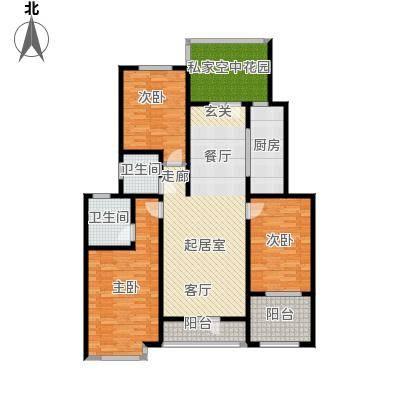 翡翠华府三室两厅两卫 136.29m²户型3室2厅2卫