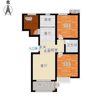 昊和沁园181920#楼房型底图户型3室1卫1厨