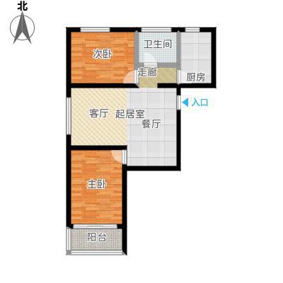 万华城97.11㎡两室两厅一卫户型2室2厅1卫