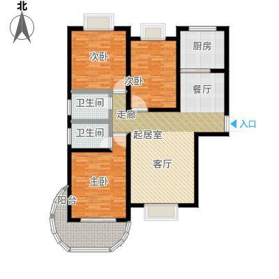 鲍德・现代逸城户型3室2卫1厨