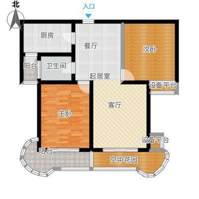 鲍德・现代逸城95.57㎡D2户型2室2厅1卫