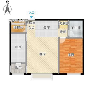 世茂威廉公馆75.00㎡一室两厅 建筑面积 75平户型