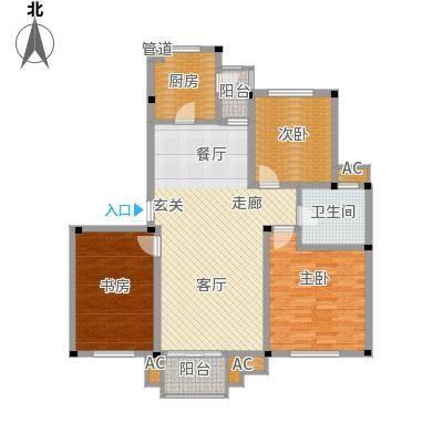 海正香醍湾107.75㎡B2 三室一厅一卫户型3室1厅1卫