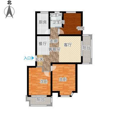 达美水岸111.00㎡C3户型3室2厅1卫