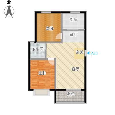 五洲国际官邸72.62㎡户型2室2厅1卫