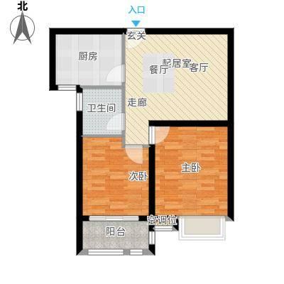 英伦花园88.91㎡高层 两室两厅一卫户型2室2厅1卫