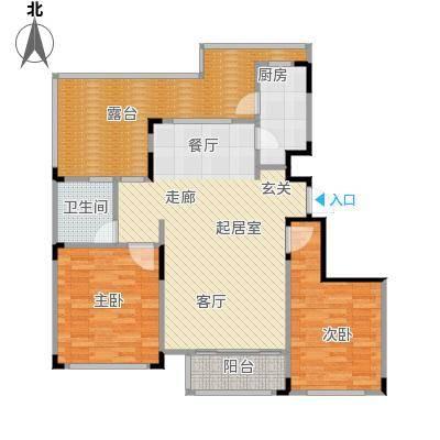 海泉湾・霞光府102.00㎡霞光府洋房D顶层户型2室2厅1卫