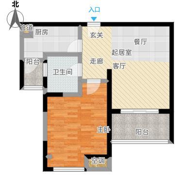 天际蓝桥64.57㎡31号02室户型 1室2厅1卫户型