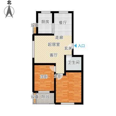 金江华城81.65㎡两室两厅一卫户型2室2厅1卫