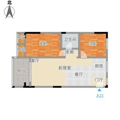 华庭・时光里77.00㎡2#3#6#楼01、07房户型2室2厅1卫