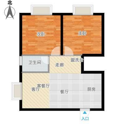 三亚南新悦城1、4号房户型2室1厅1卫