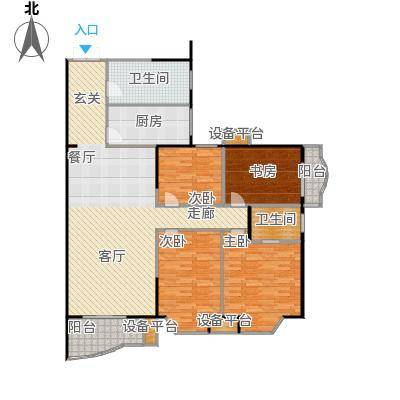 鹦鹉花园(六期)142.23㎡房型: 三房; 面积段: 142.23 -158.29 平方米;户型