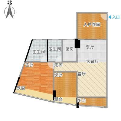 鸿洲・天玺79.00㎡C2户型2室2厅2卫