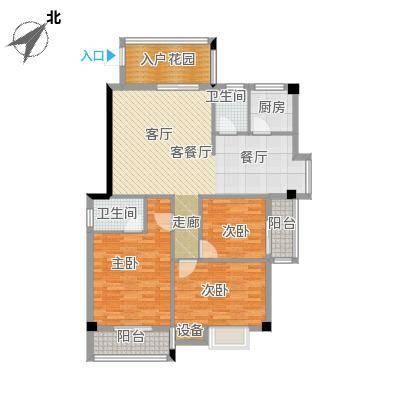 绿洲富城户型3室1厅2卫1厨
