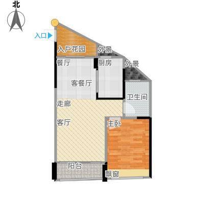 鸿洲・天玺55.00㎡D3户型1室2厅1卫