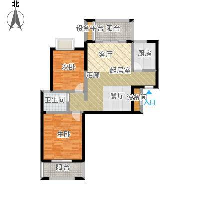 瑞景城86.37㎡1、2#楼G户型2室2厅1卫