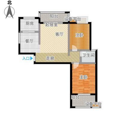 瑞景城90.98㎡1、2#楼C户型2室2厅1卫