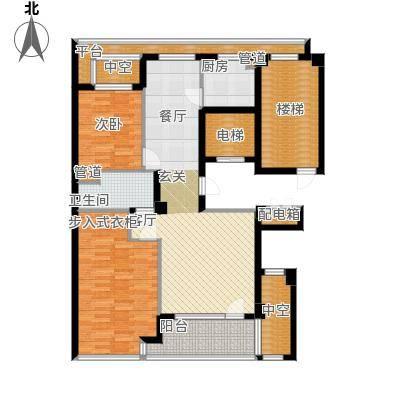 绿城百合花园100.00㎡D7号楼西户 两室两厅一卫户型2室2厅1卫