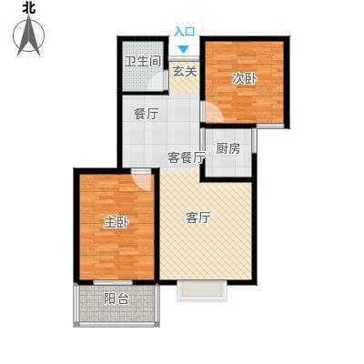 水印城75.60㎡户型2室2厅2卫