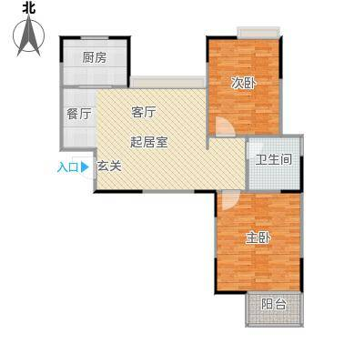 海信・慧园90.00㎡两室两厅一卫户型