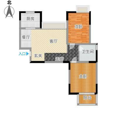 海信・慧园90.00㎡住宅,两室两厅一卫,90平方米户型