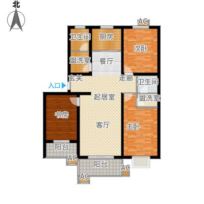 54㎡b户型三室二厅二卫户型