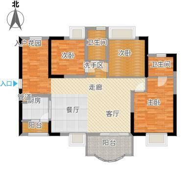 华轩桃花源121.00㎡E户型三房二厅二卫121平米户型3室2厅2卫