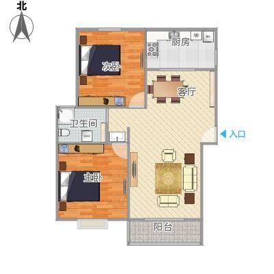 地中海两室一厅海尚康庭户型图