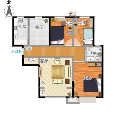 天洋翠堤湾三室两厅一卫98.5m2