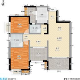 东麓驿境105.39㎡四期38、39、46、47号楼标准层A2户型