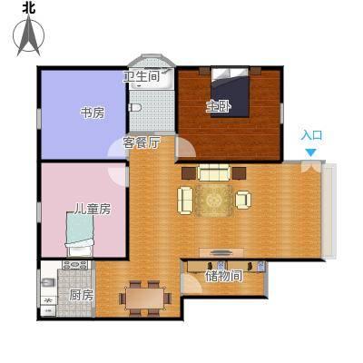 湖滨公寓三室二厅一厨一卫户型图