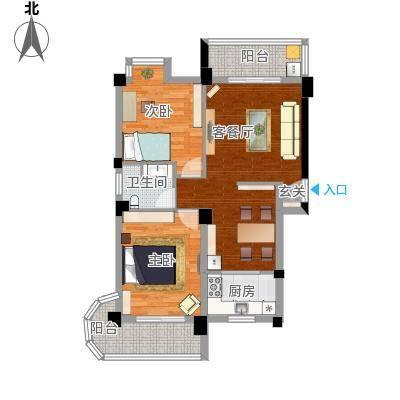 新澳蓝草坪80.30㎡房型户型2室1厅1卫1厨